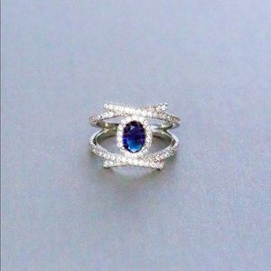 Jewelry - BRAND NEW.925 SILVER BLUE SAPPHIRE RING SIZE 7